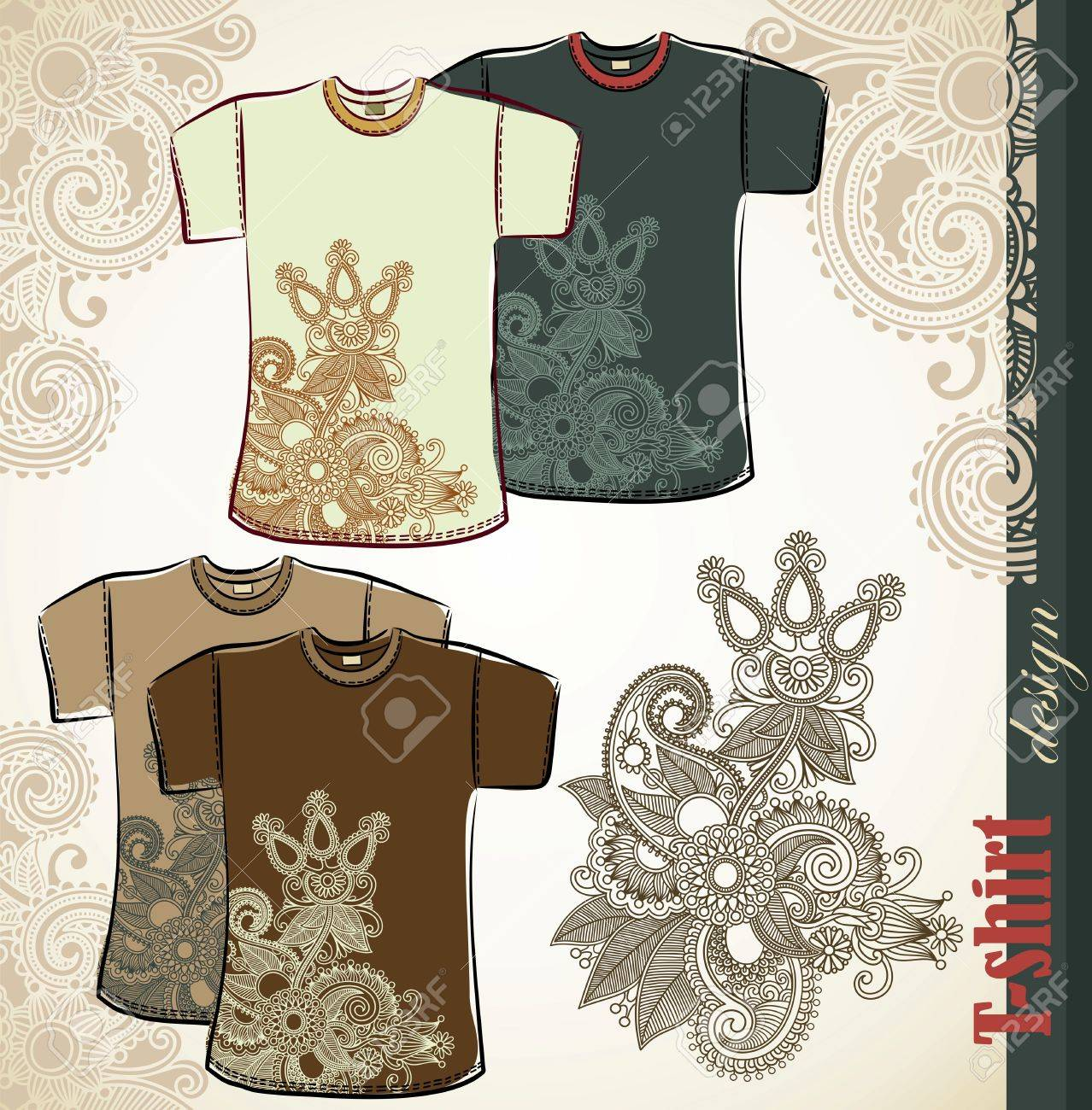 Design t shirt embroidery - Vector T Shirt Flower Ethnic Design Templates