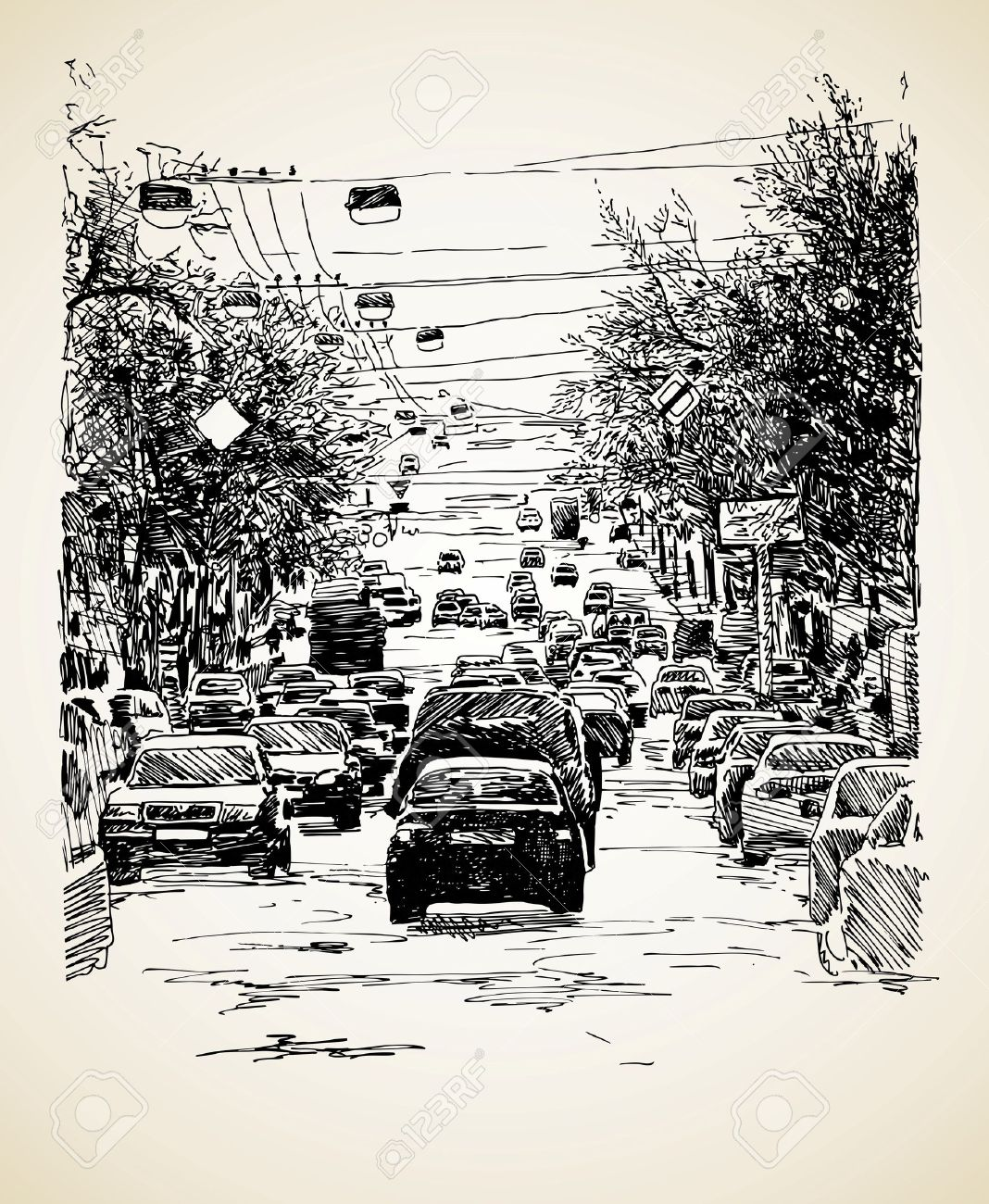 Hand Draw Line Art City Traffic Composition Royalty Free Cliparts ...