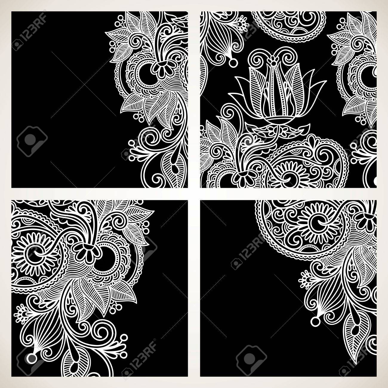 set of black and white floral pattern Stock Vector - 11638878