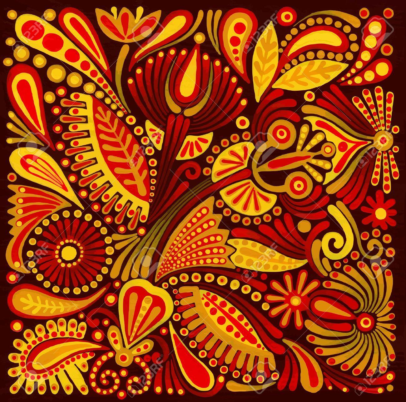 Hand Draw Acrylic Painting Flower Vector Ethnic Design. Ukrainian ...
