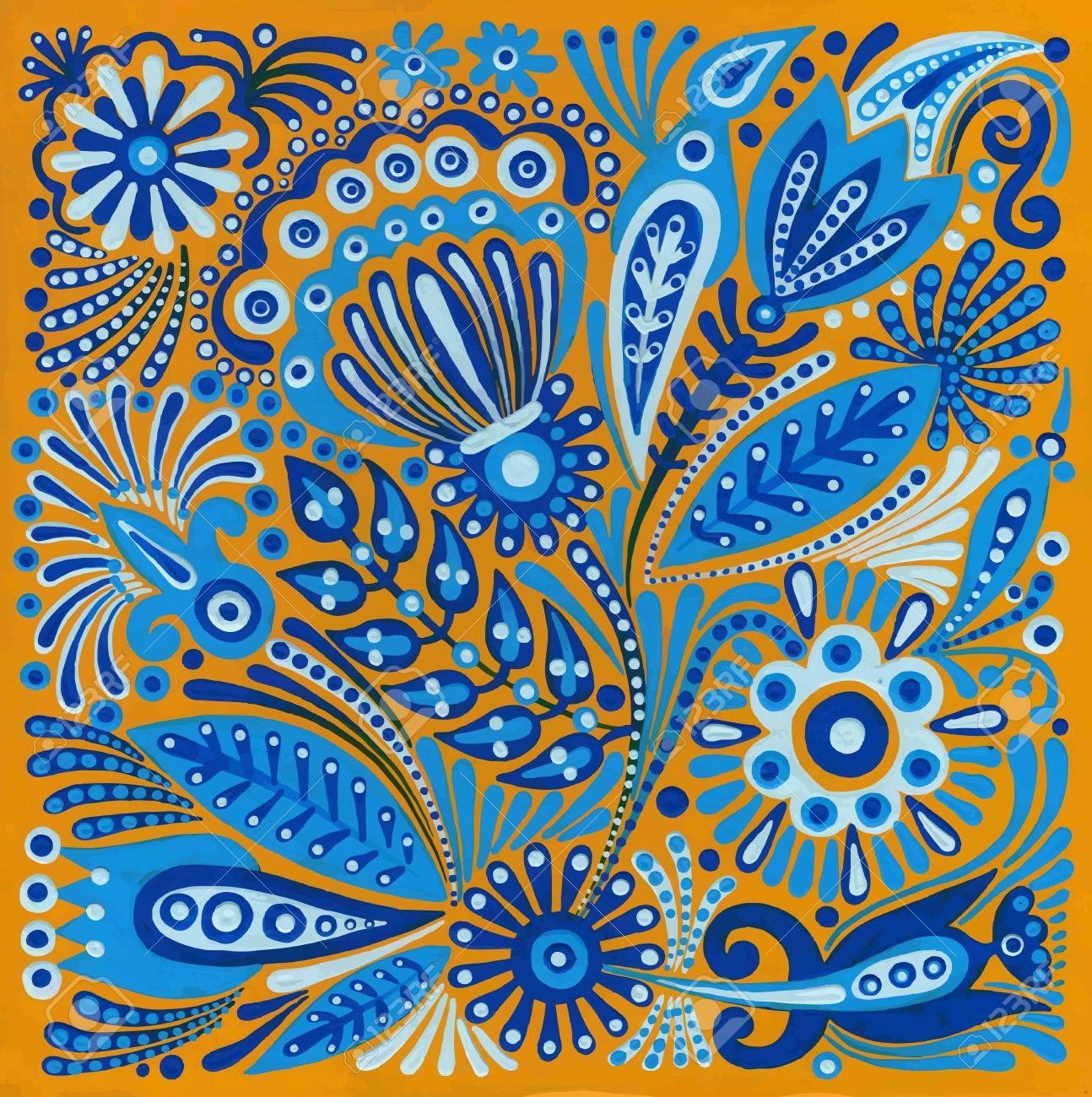 hand draw acrylic painting flower vector ethnic design. Ukrainian traditional painting Stock Vector - 11639046