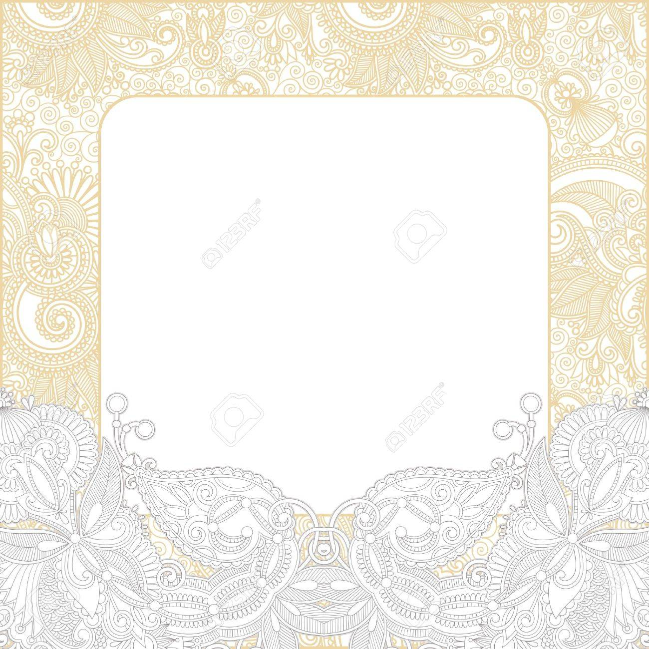 Ornate Floral Background Invitation To The Wedding Or Announcement ...