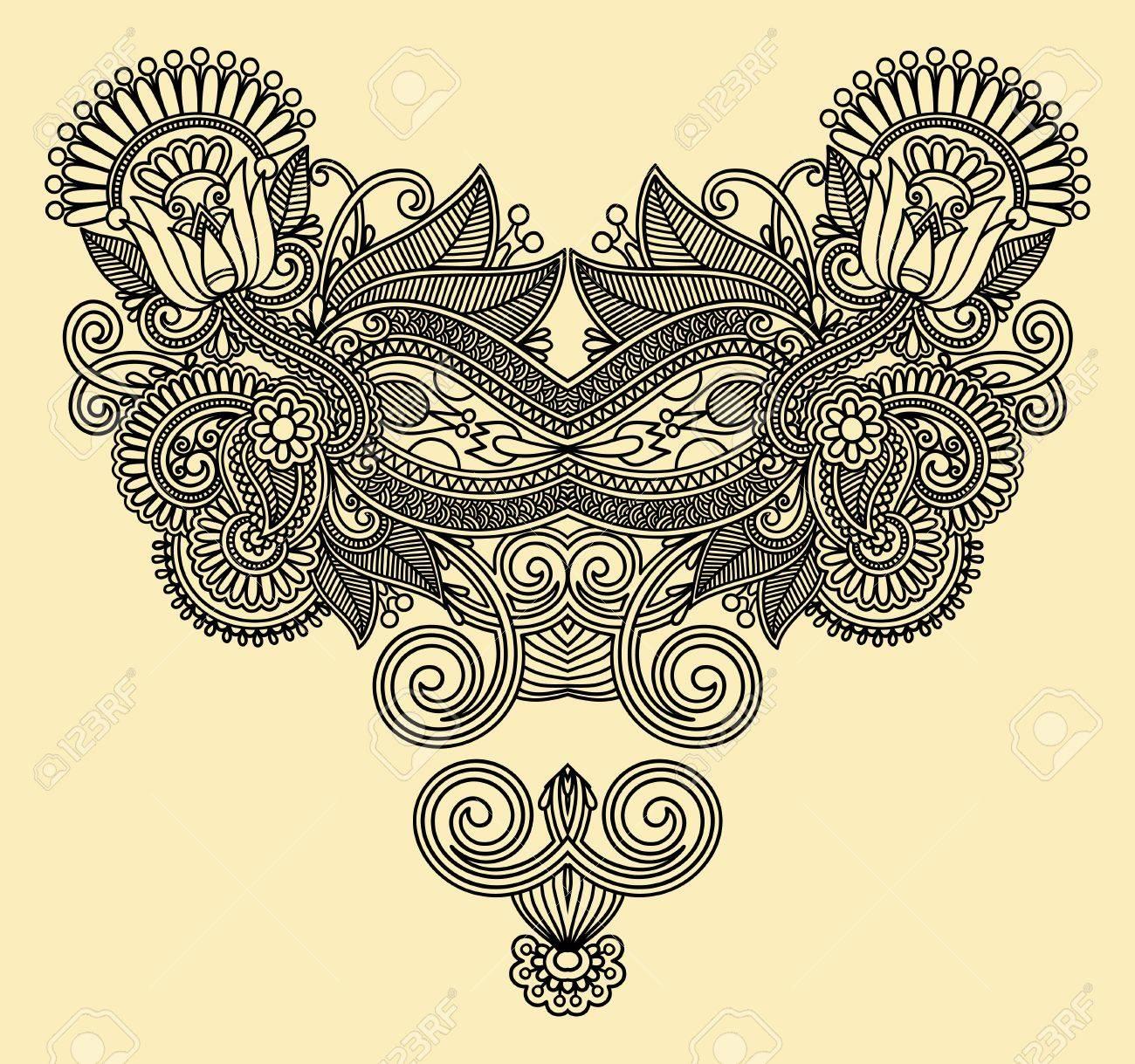 Neckline embroidery fashion Stock Vector - 12976671