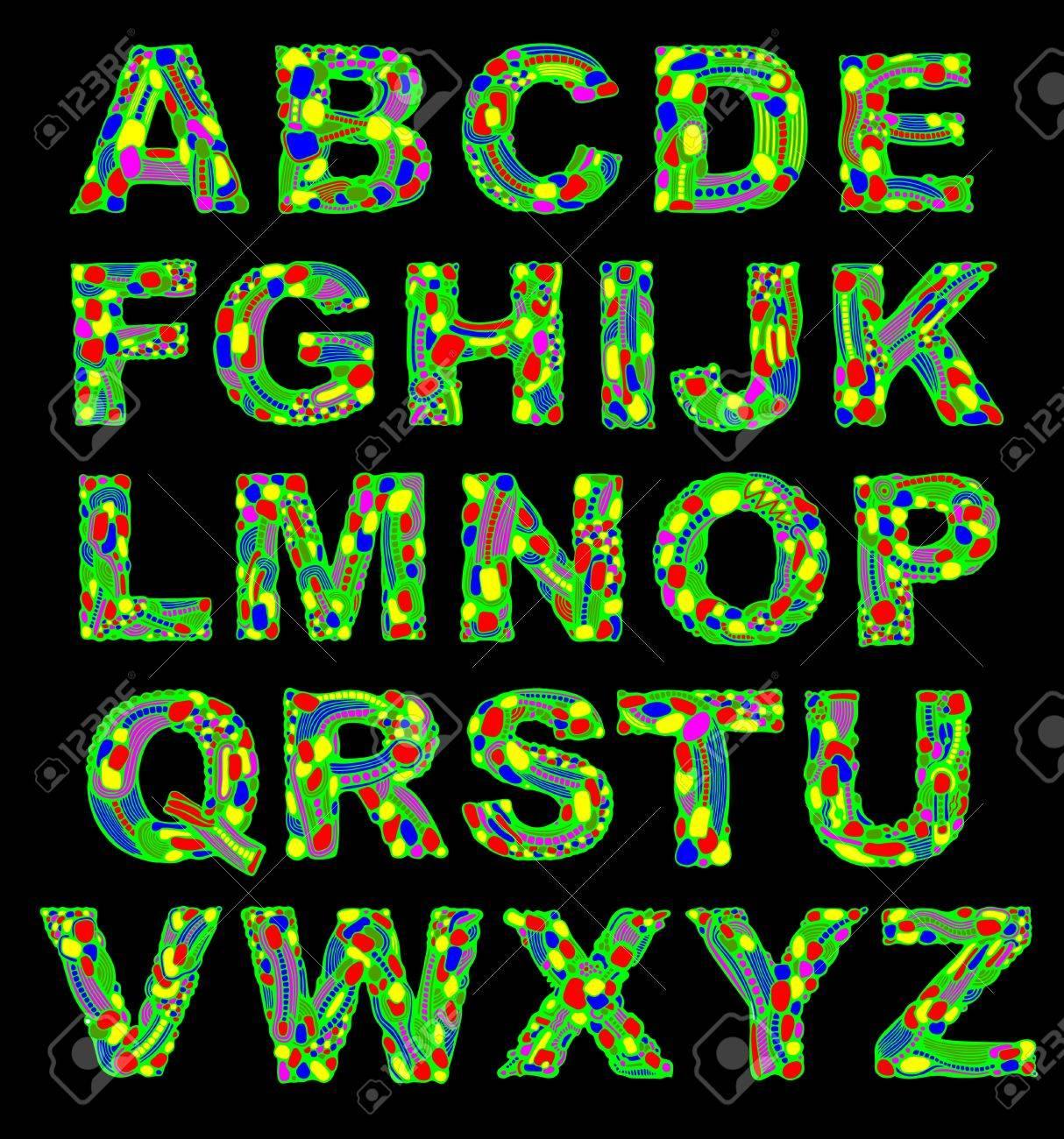 Alphabet Psychédélique main à tirage orné design psychédélique alphabet des couleurs clip
