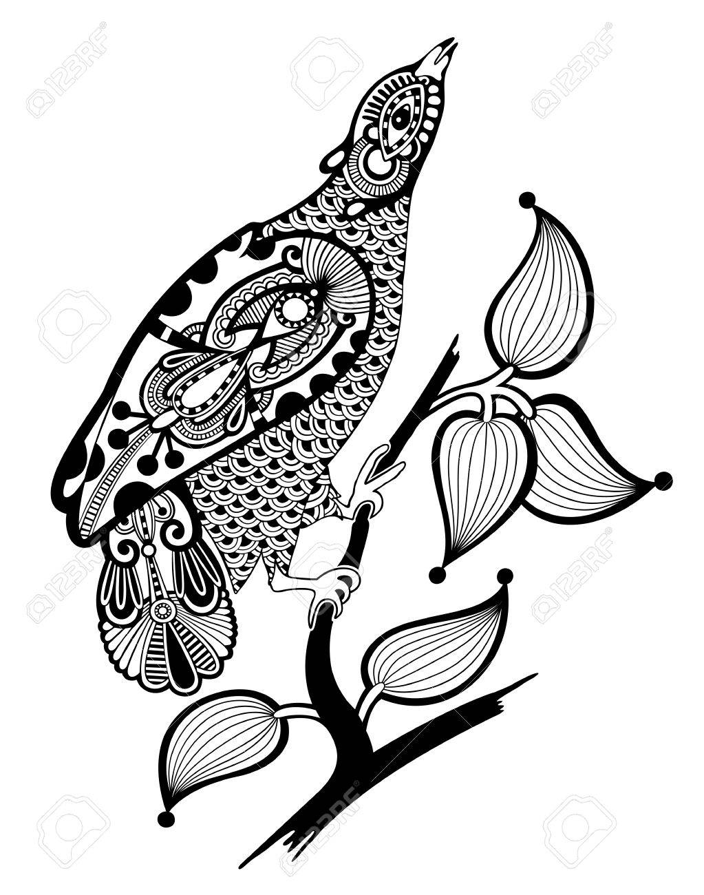 hand draw ornate ink bird decoration Stock Vector - 12976647