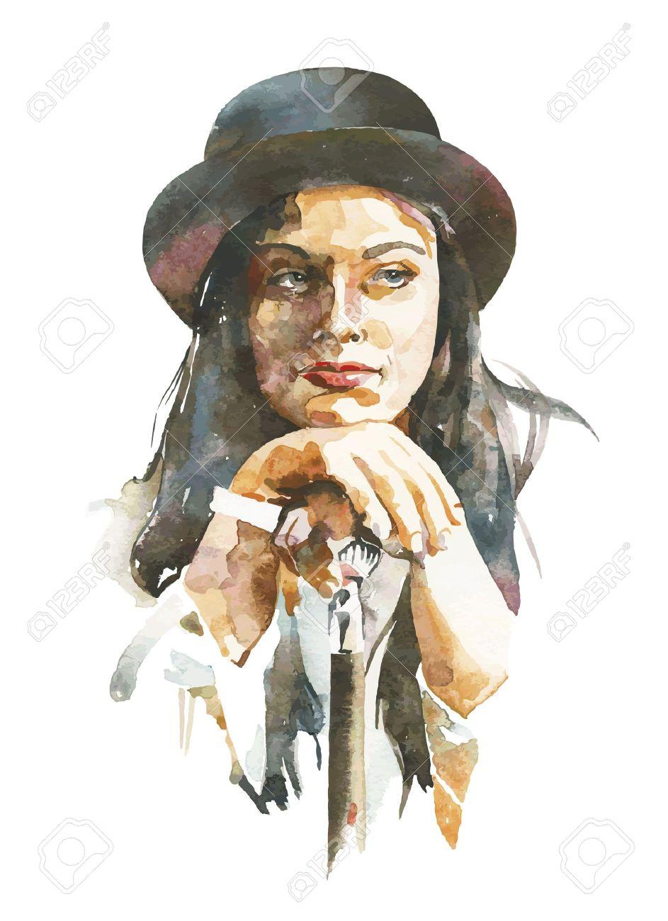 Vector watercolor portrait of women in a hat
