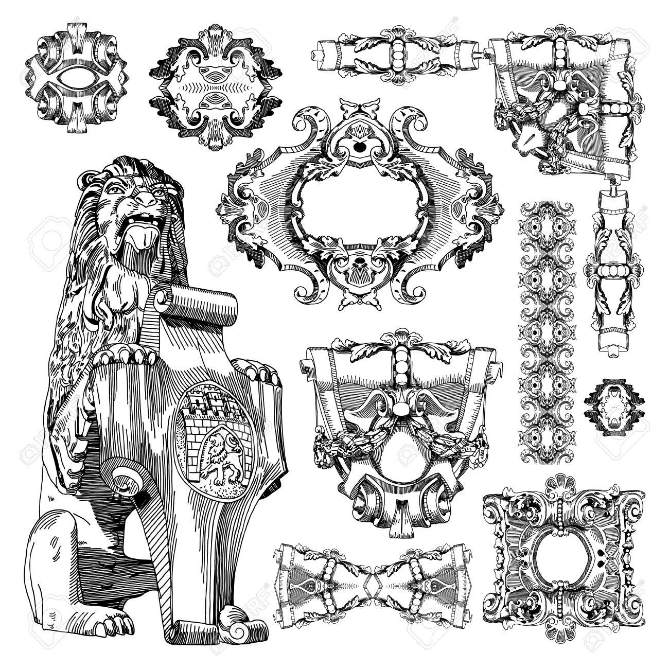 hand draw vintage sketch ornamental design element of Lviv historical building, Ukraine  Vector set  calligraphic design elements and page decoration Stock Vector - 13255325