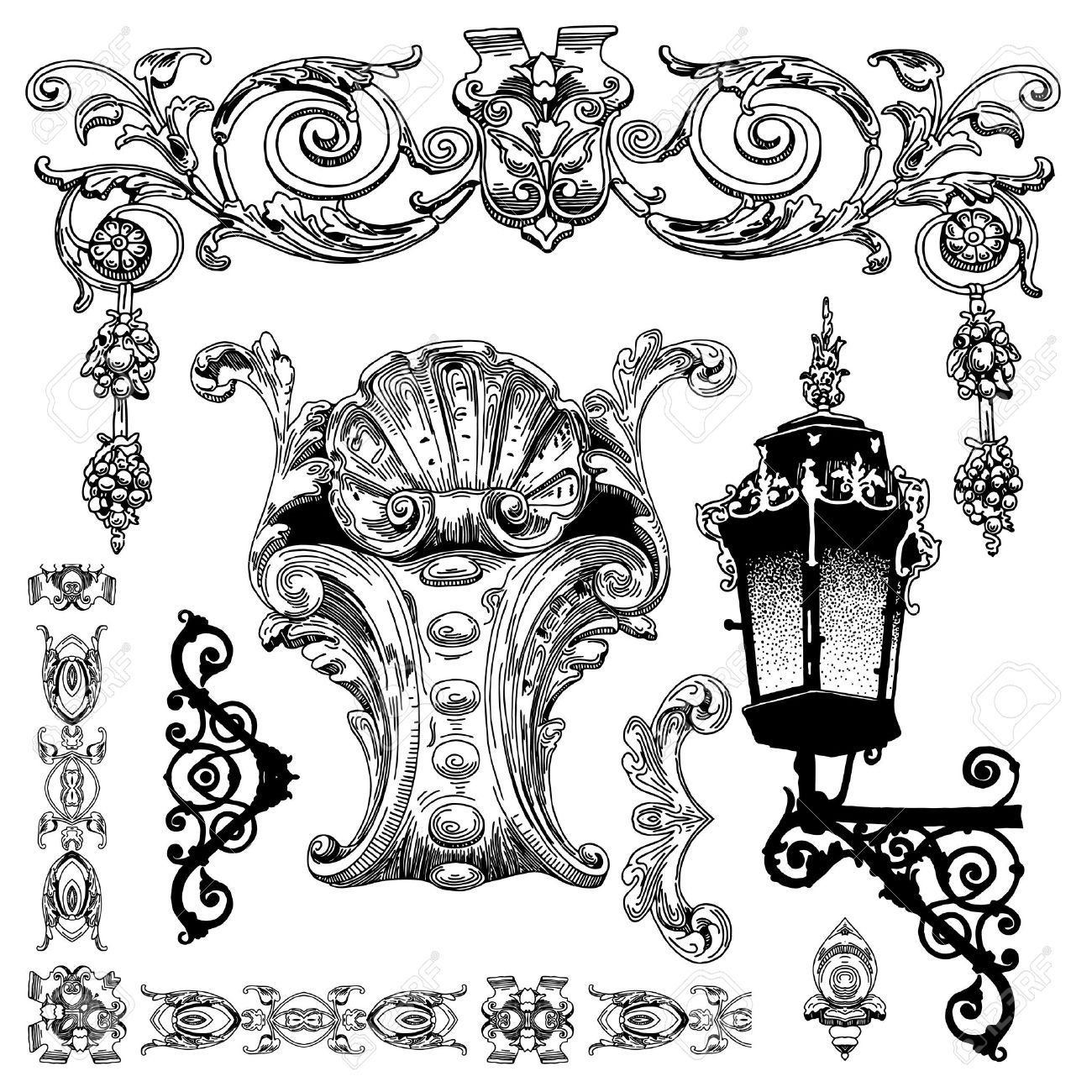 hand draw vintage sketch ornamental design element of Lviv historical building, Ukraine  Vector set  calligraphic design elements and page decoration Stock Vector - 13255316