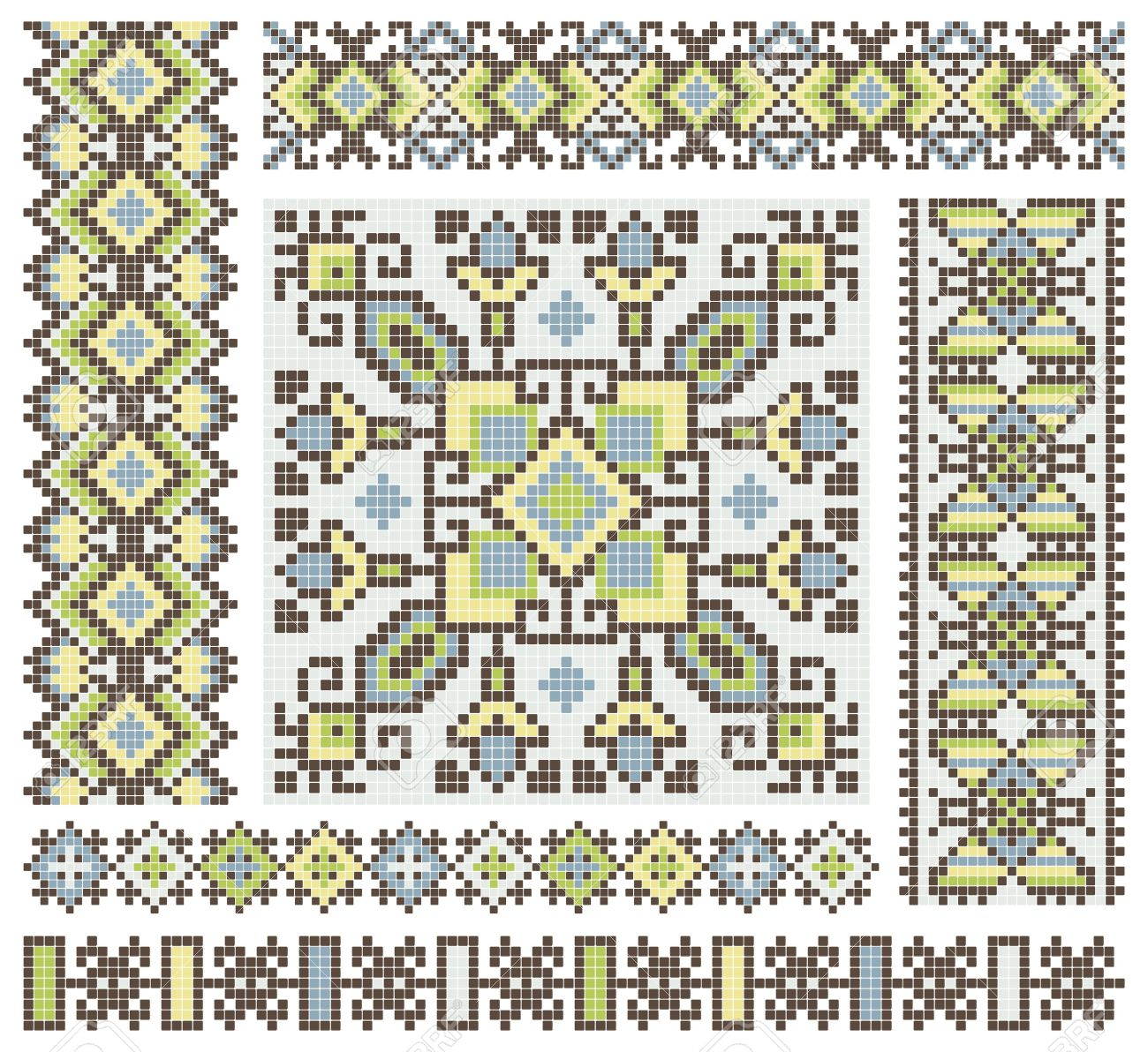 embroidered good like handmade cross-stitch ethnic Ukraine pattern design Stock Vector - 13762454