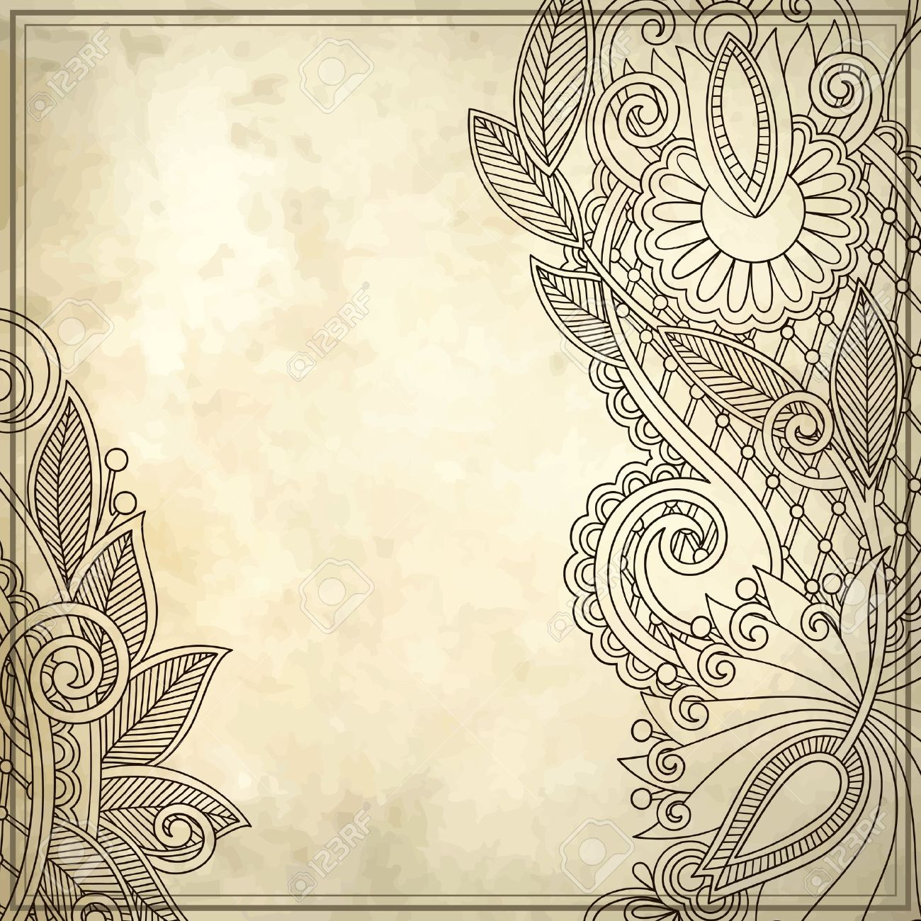 Old, Ink, Art, Leaf, Card, Note, Blank, Retro, Frame, Paper ...