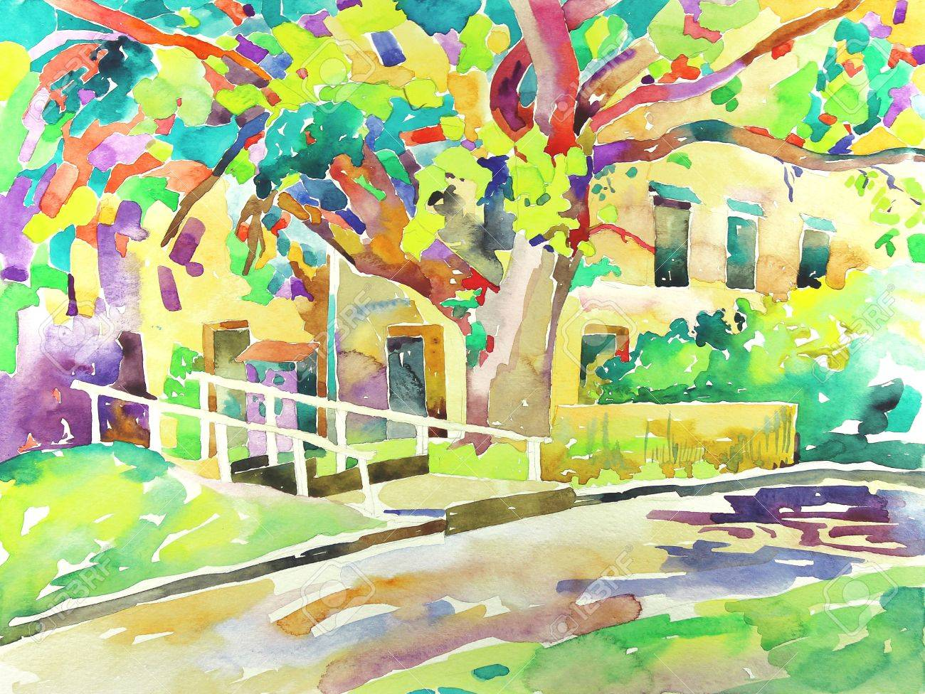 original watercolor painting by a tree  I am author of this illustration Stock Photo - 13770494