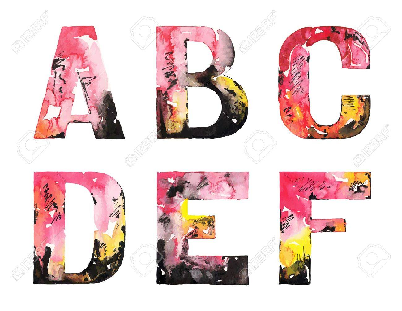 オリジナルの手作りの水彩画アルファベット デザイン イラスト