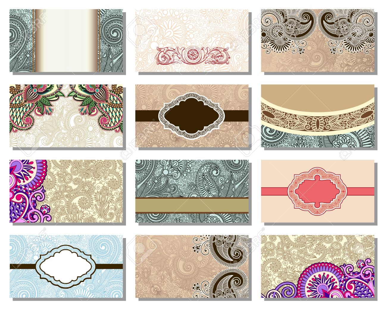 collection of colorful floral ornamental business card element Stock Vector - 14252379