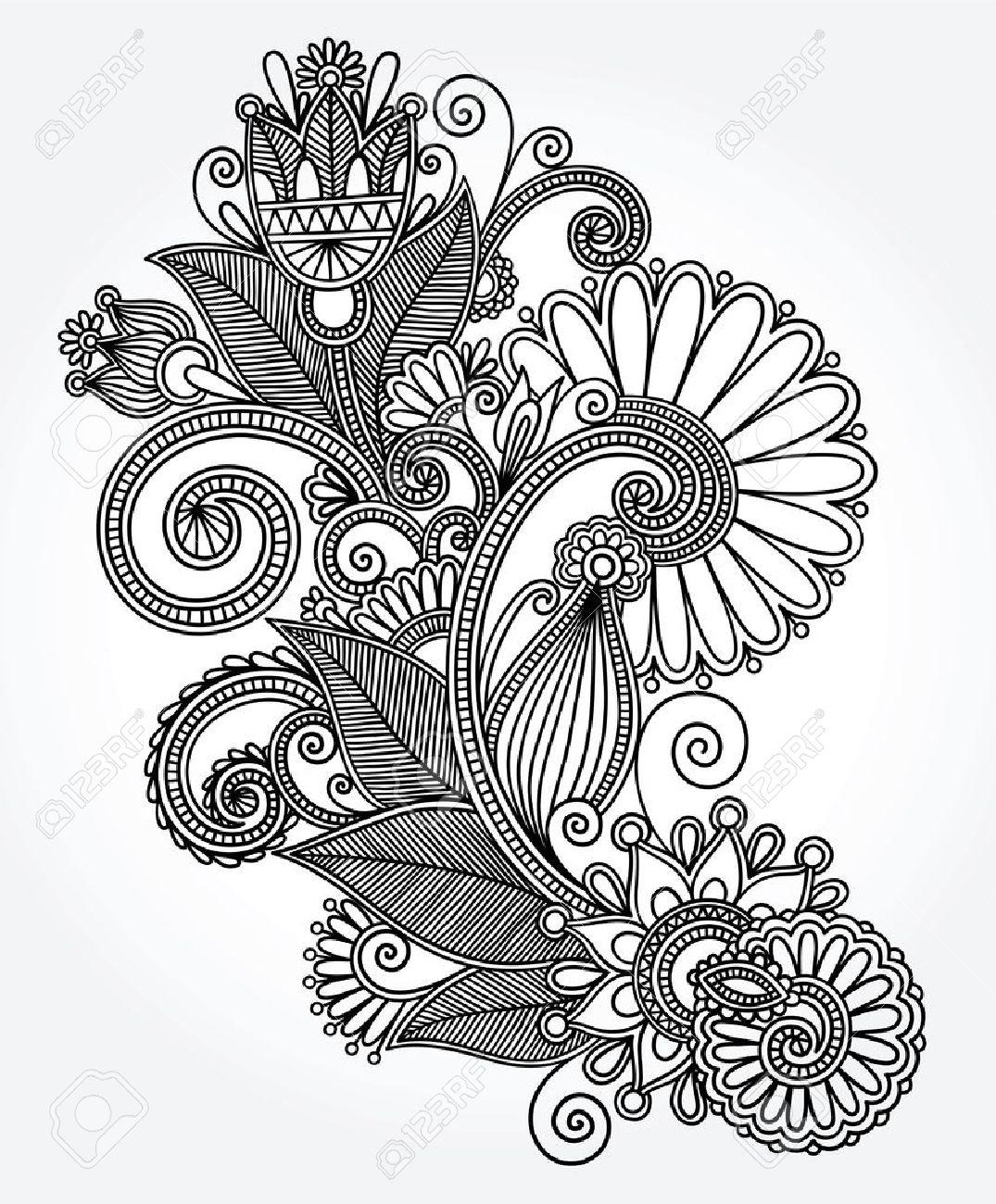 original hand draw line art ornate flower design  Ukrainian traditional style Stock Vector - 14689036