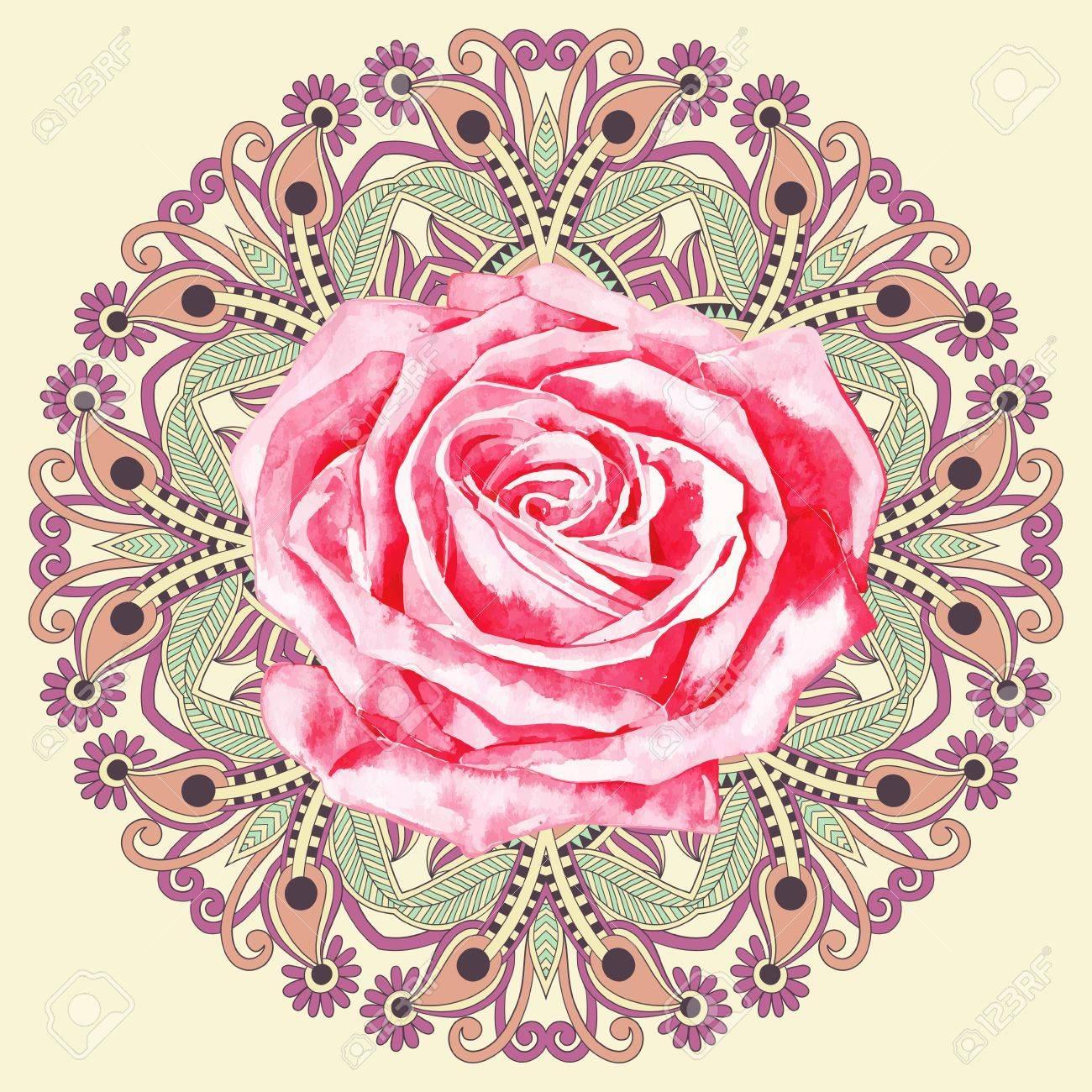 mandala rose ornamental circle pattern with watercolor rose