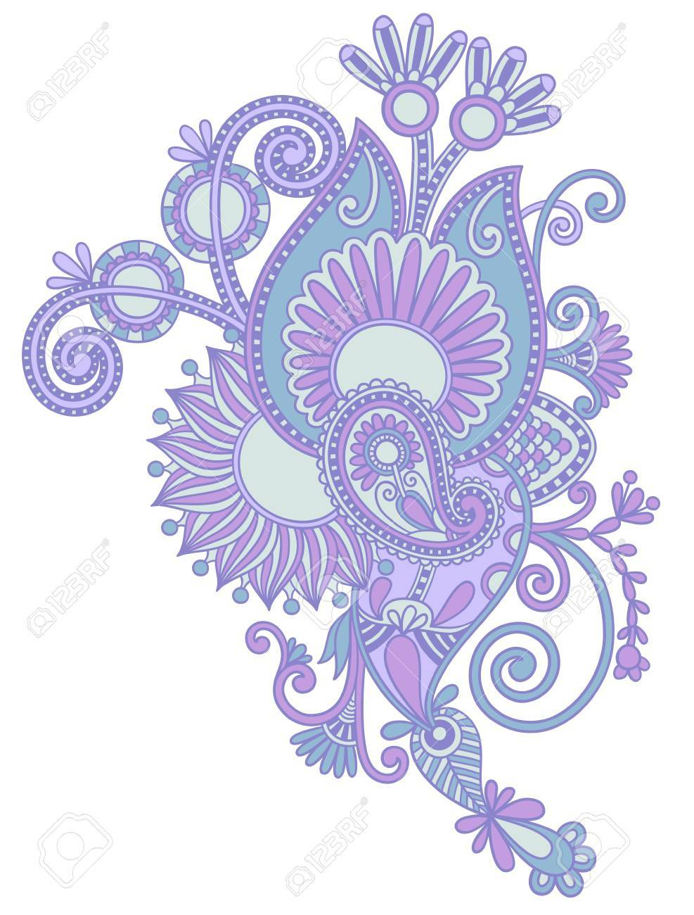 original hand draw line art ornate flower design. Ukrainian traditional style Stock Vector - 15110459
