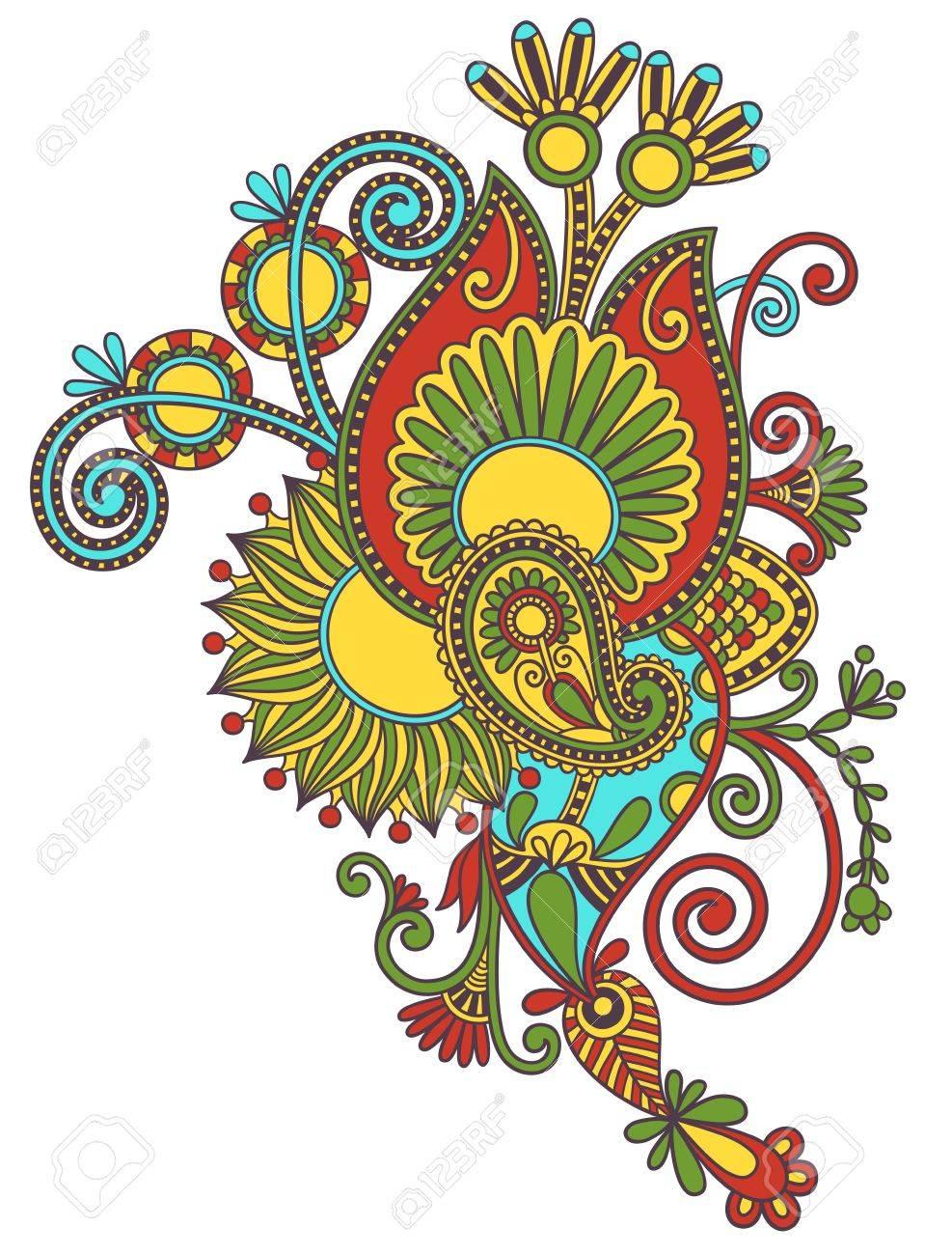 original hand draw line art ornate flower design. Ukrainian traditional style Stock Vector - 15110460