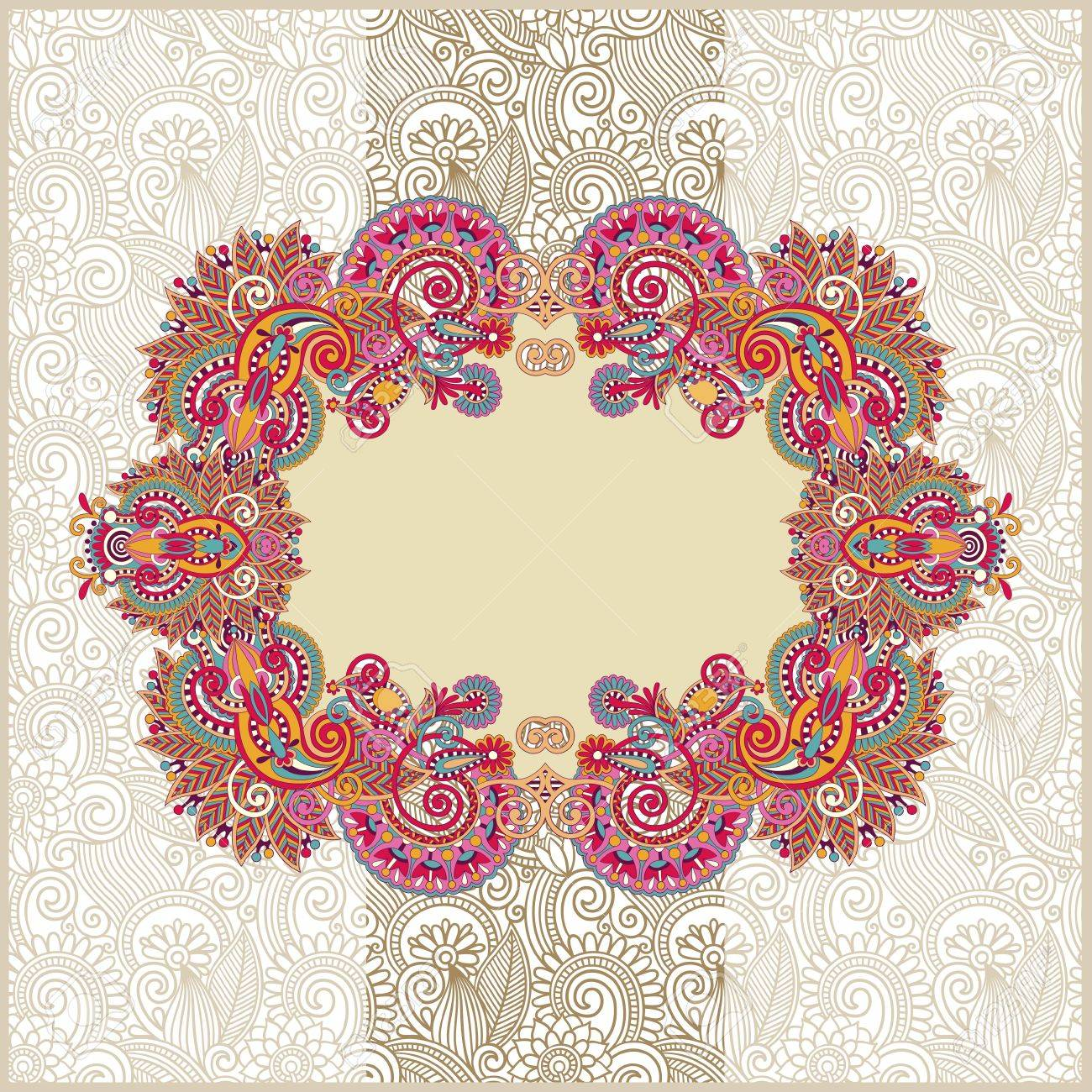 Ornamental Template With Floral Background Royalty Free Cliparts ...