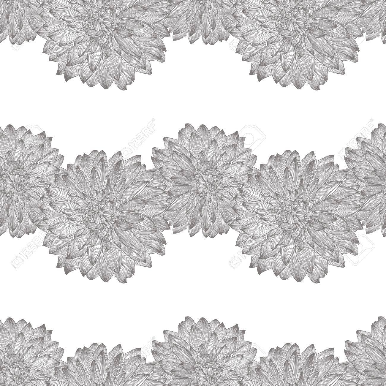 seamless pattern with dessin de fleur de dahlia. Élément à votre