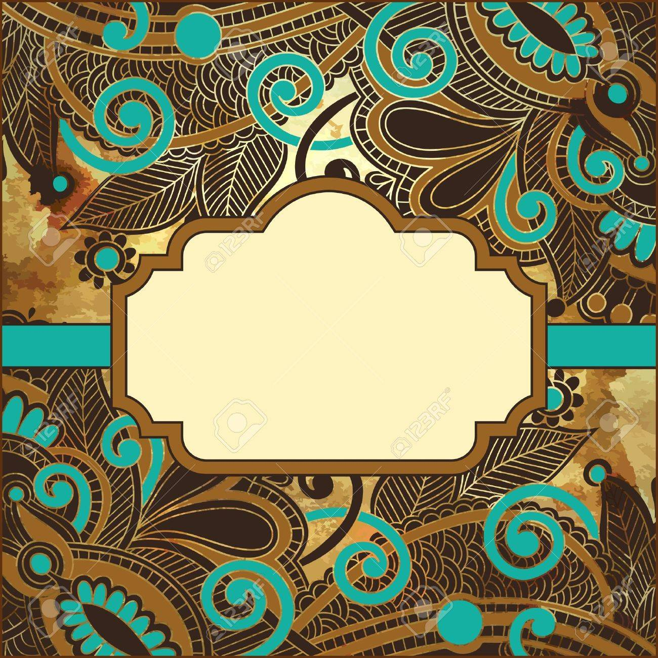flower design on grunge background with frame for your text Stock Vector - 15556182