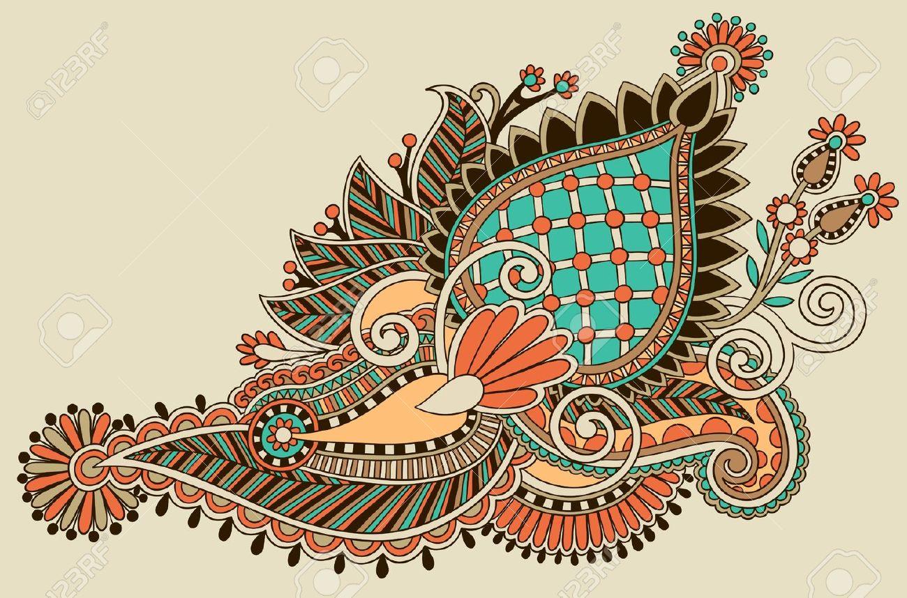 original hand draw line art ornate flower design. Ukrainian traditional style Stock Vector - 16513903