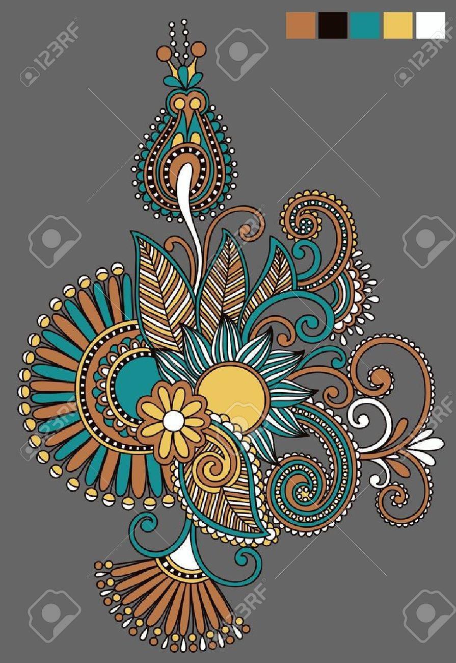 original hand draw line art ornate flower design. Ukrainian traditional style Stock Vector - 16557110