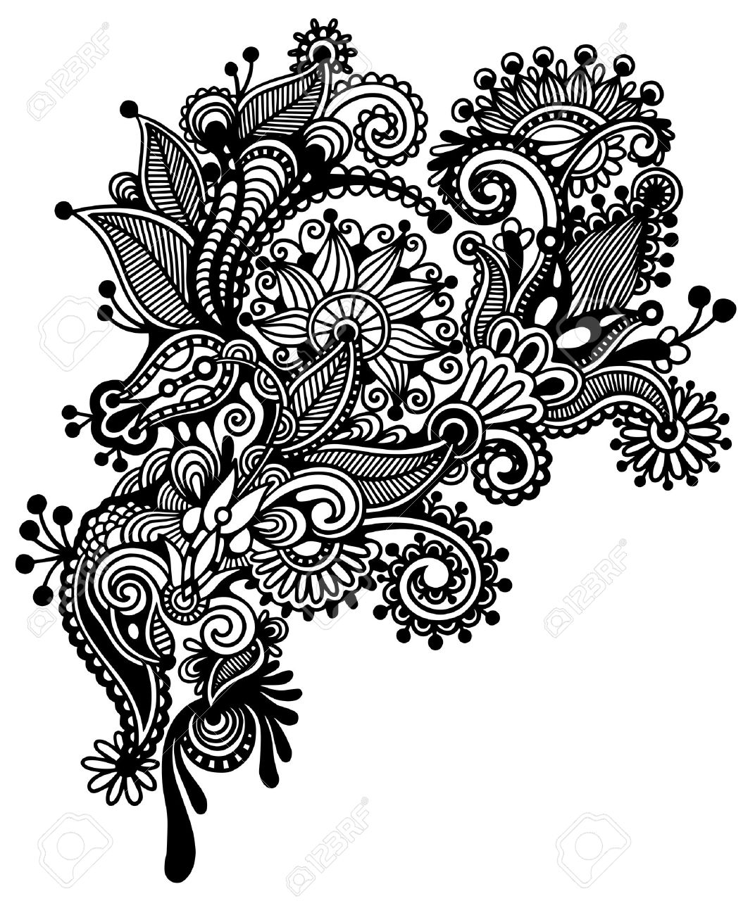 Black And White Line Art Ornate Flower Design Ukrainian Traditional