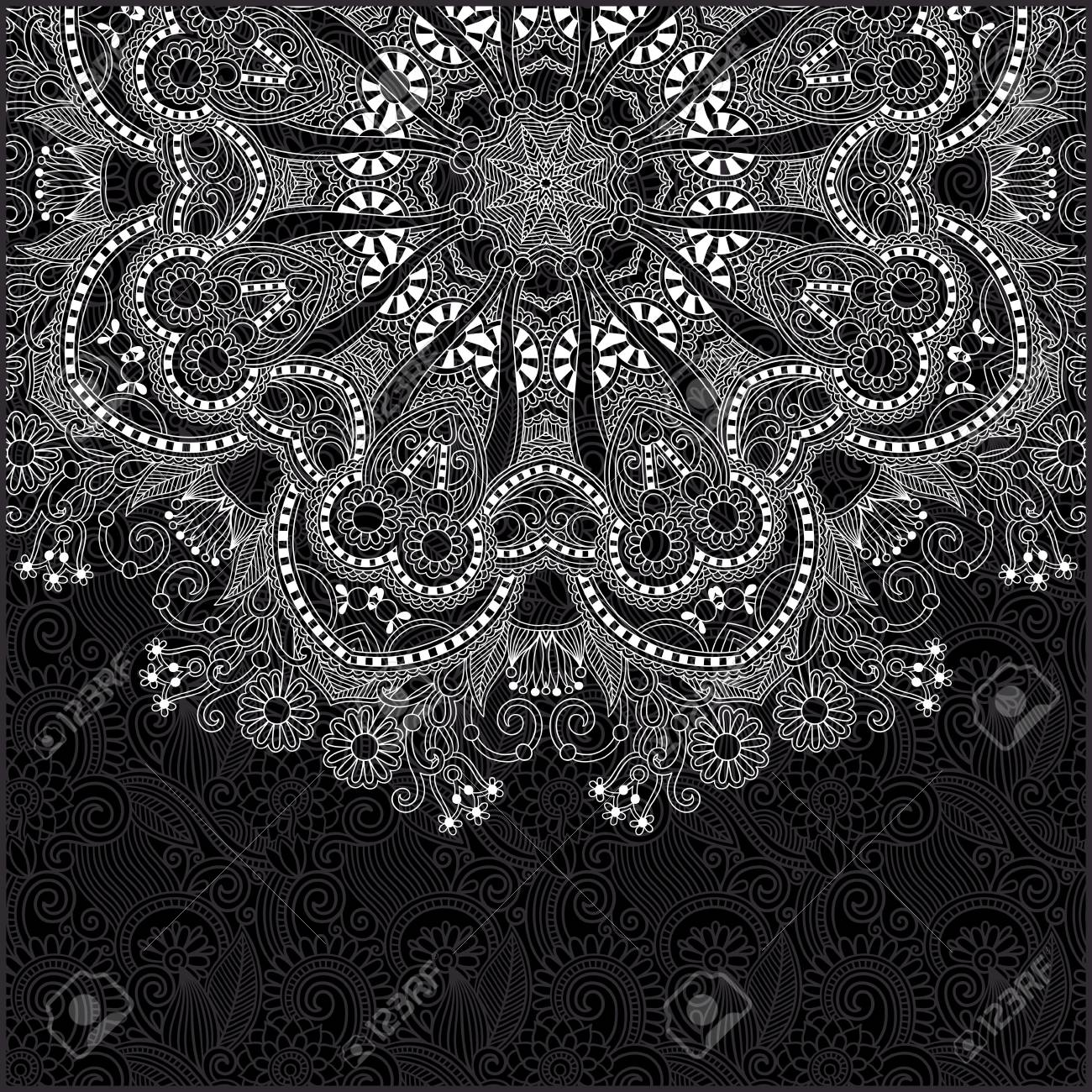black and white ornamental circle template with floral background Stock Vector - 17367322