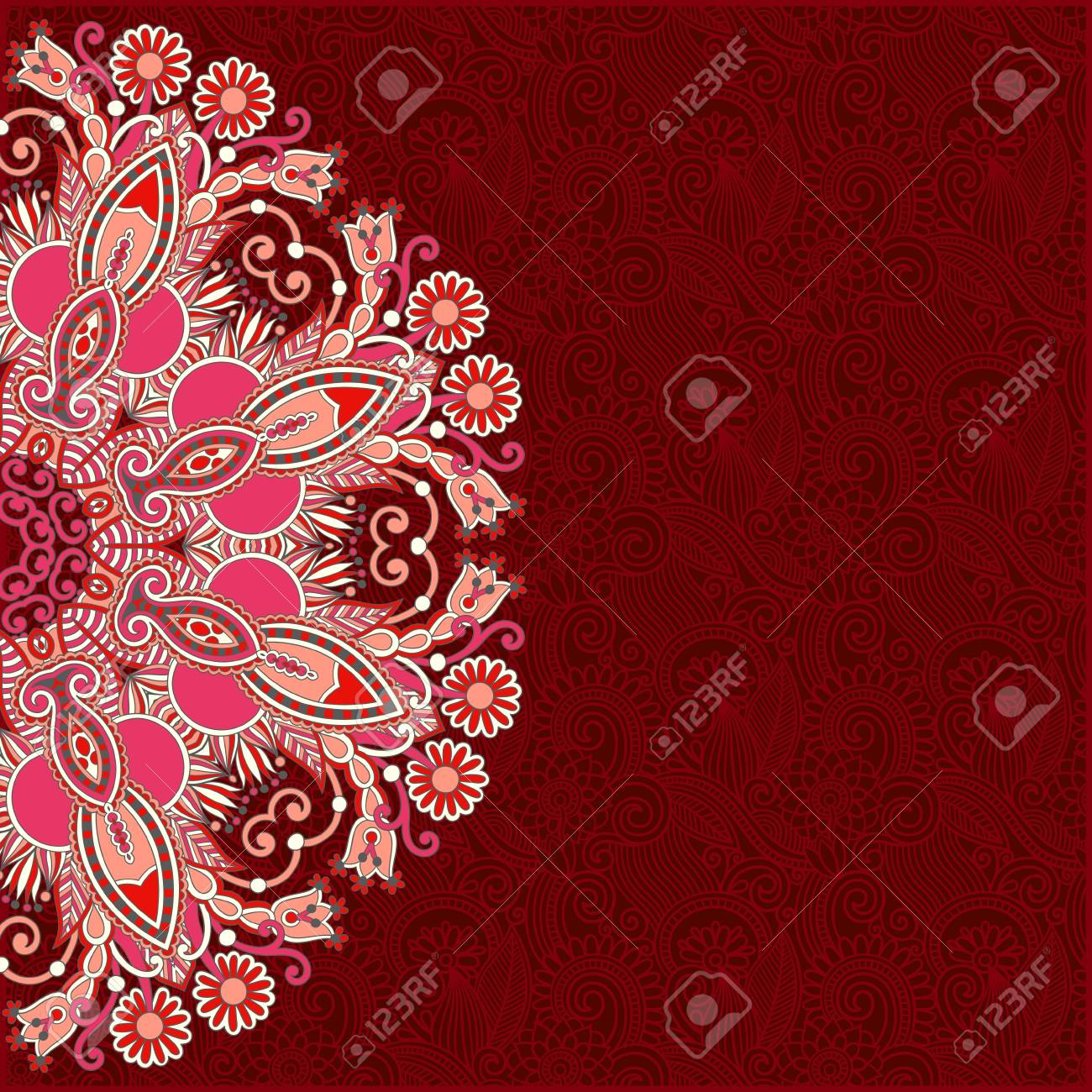 ornamental circle template with floral background Stock Vector - 17416084