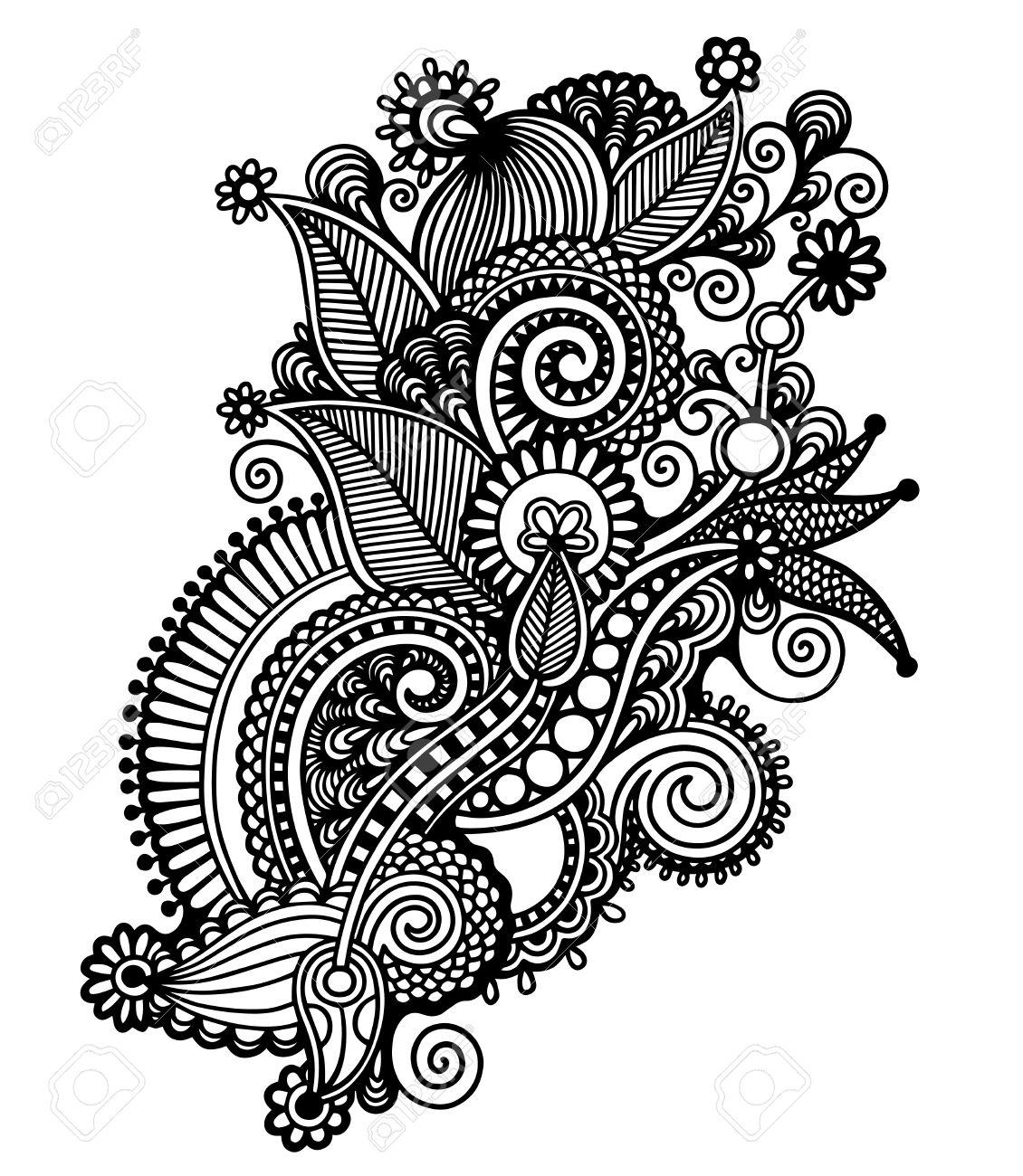 Mano Dibujar La Linea De Diseno De Arte Negro Y Blanco Adornado De