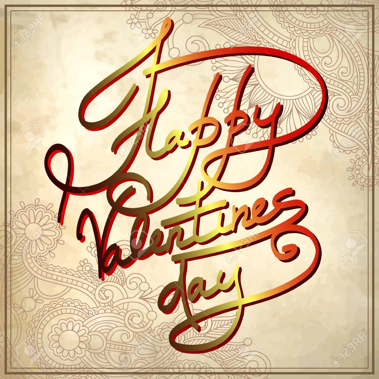 hand lettering inscription - happy valentines day, on grungy paper background Stock Vector - 17416185