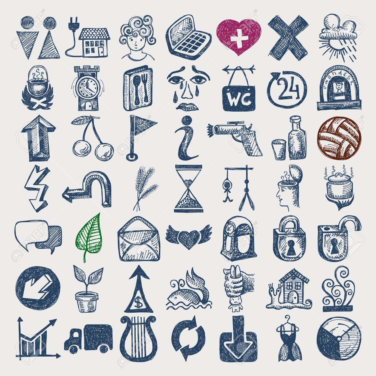 49 hand drawing doodle icon set Stock Vector - 18000003