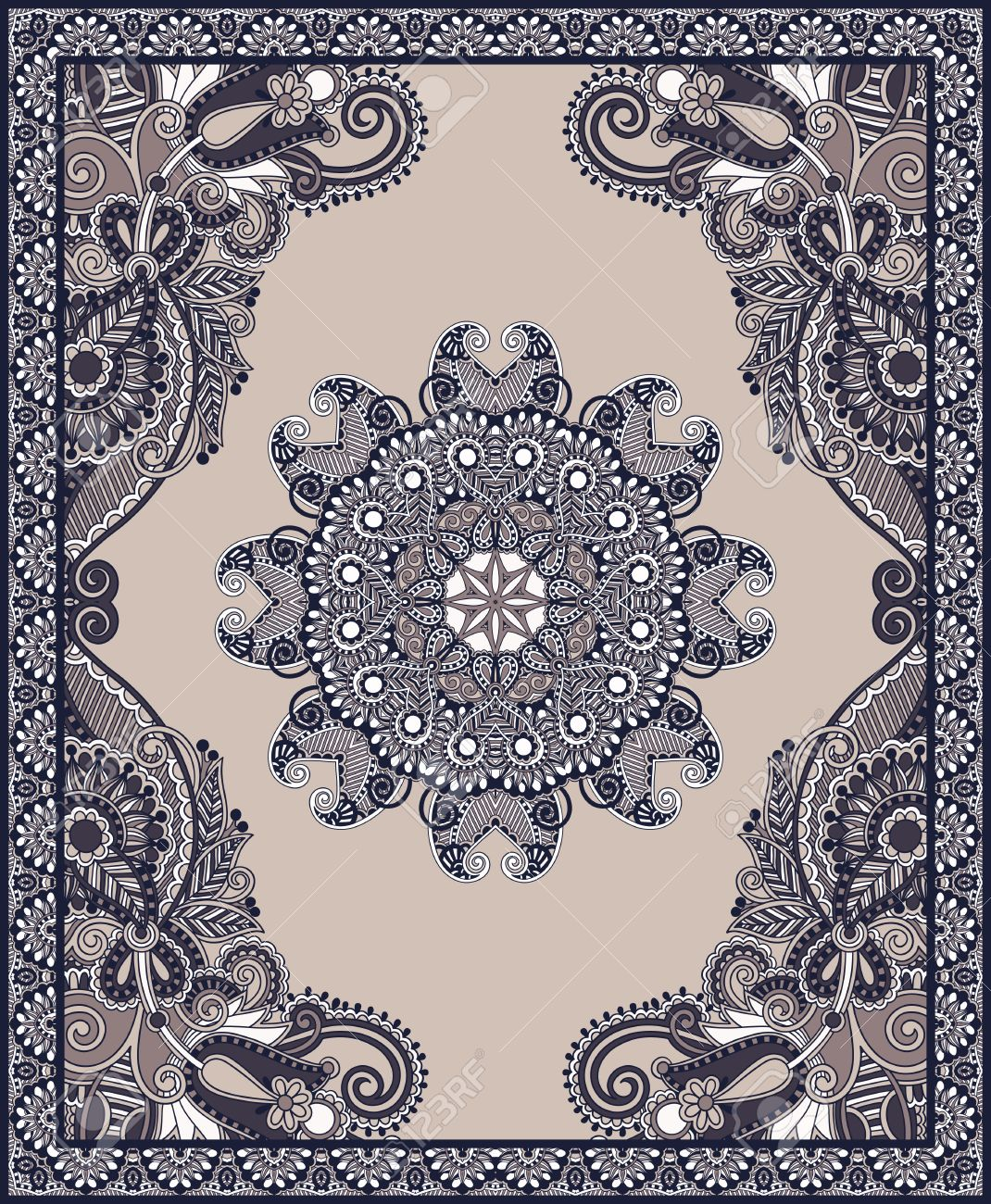 Ukrainian Oriental Floral Ornamental Carpet Design Stock Vector - 18016486