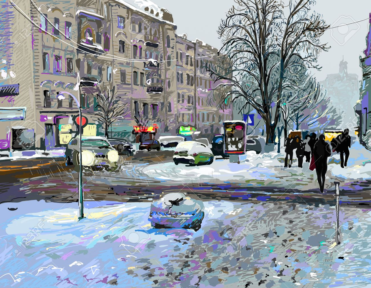 digital painting of winter Kiev city landscape, Ukraine, slush and snow weather Stock Photo - 18035367