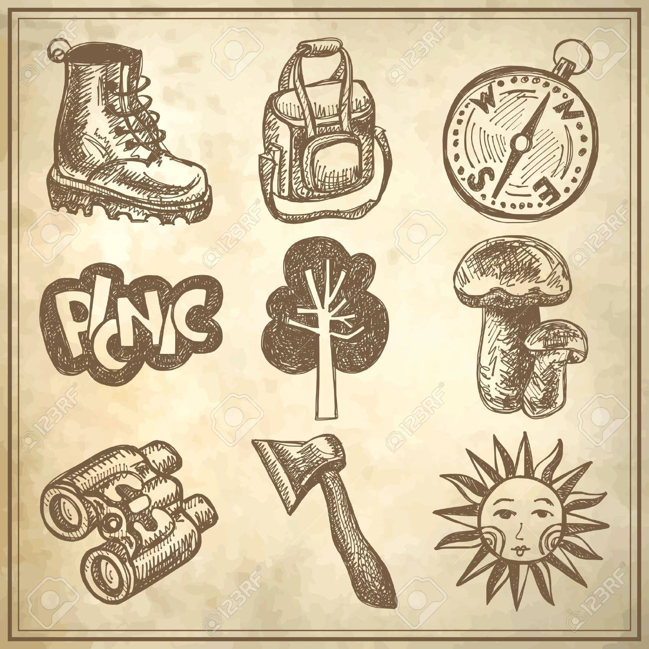 sketch doodle icon collection, picnic, travel and camping theme on grunge background Stock Vector - 18036558