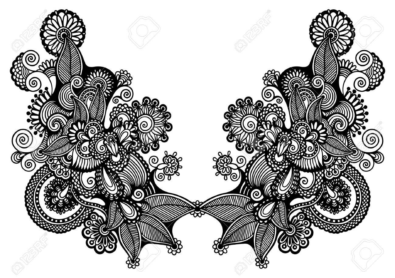 Neckline embroidery fashion Stock Vector - 18796911