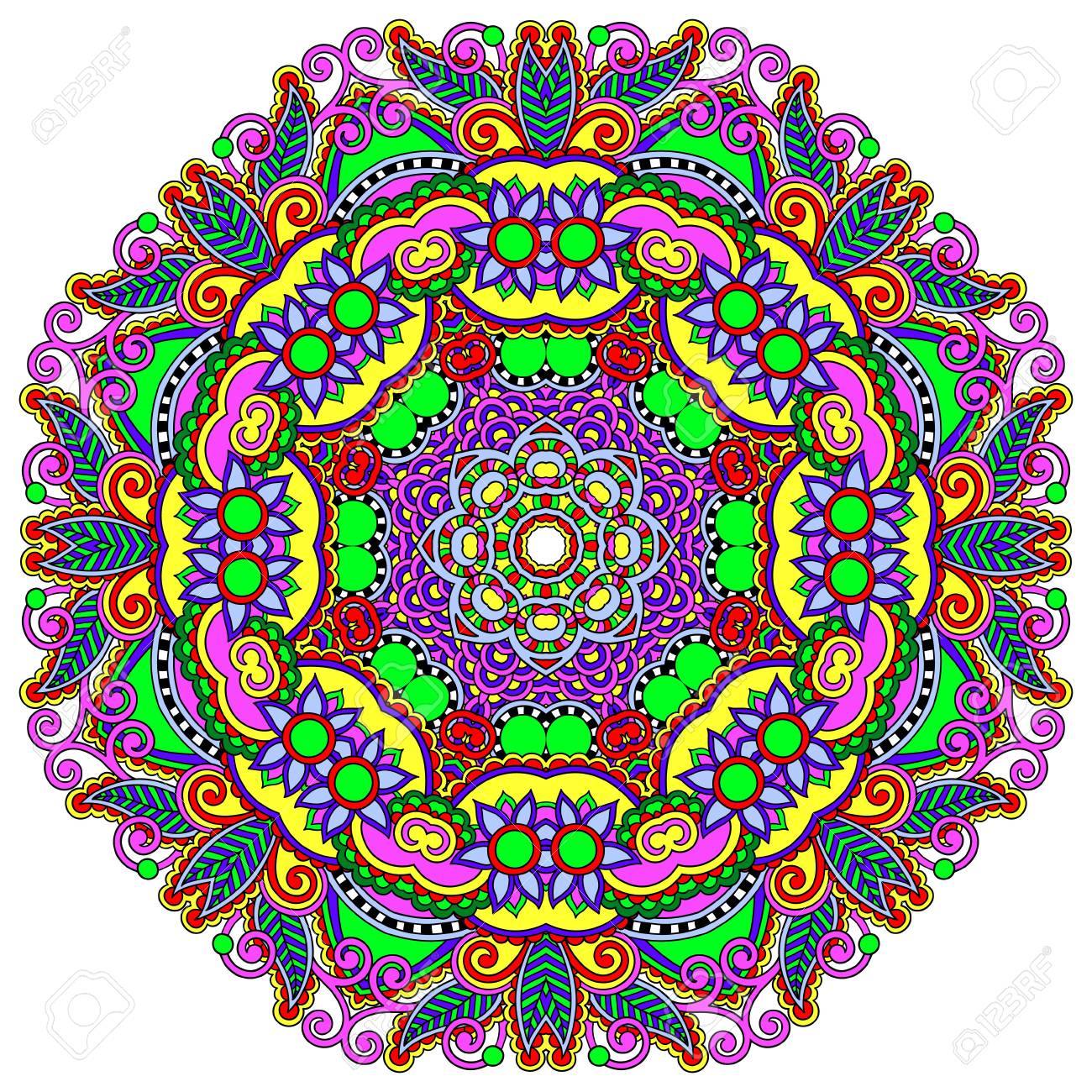 Circle lace ornament, round ornamental geometric doily pattern Stock Vector - 21680436