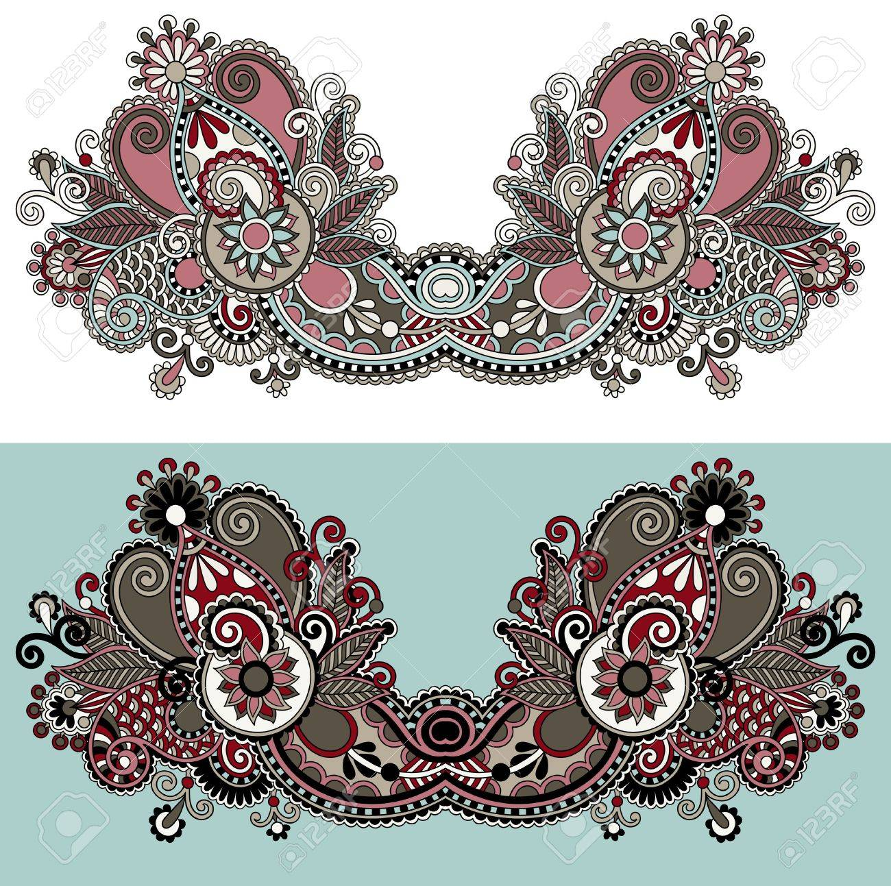 Neckline ornate floral paisley embroidery fashion design, ukrainian ethnic style. Good design for print clothes or shirt Stock Vector - 21680688