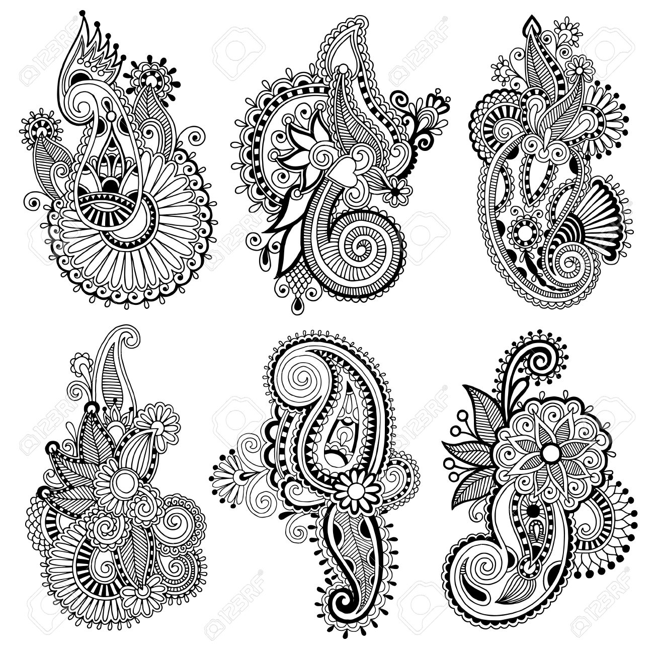 black line art ornate flower design collection, ukrainian ethnic style, autotrace of hand drawing Stock Vector - 21758719