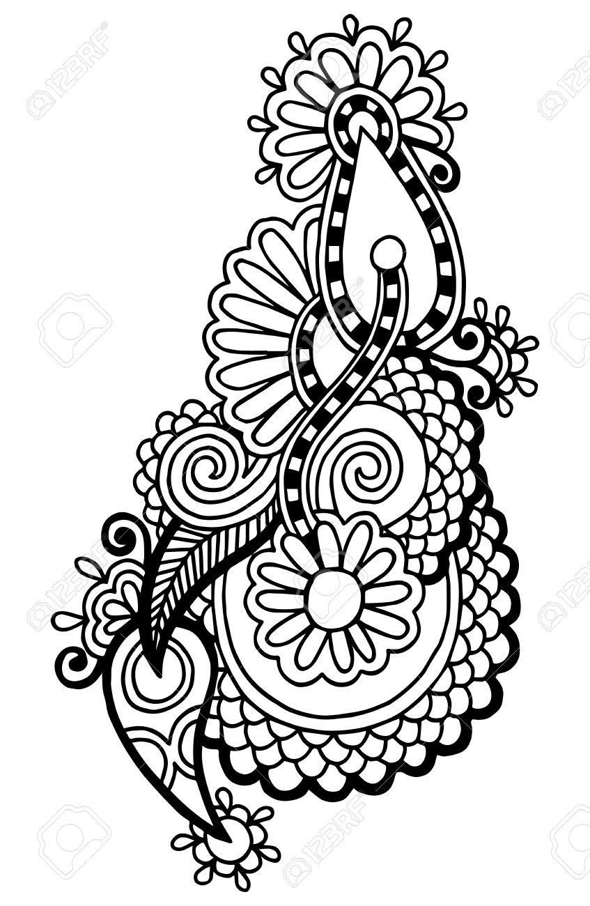 black line art ornate flower design, ukrainian ethnic style, autotrace of hand drawing Stock Vector - 21759022