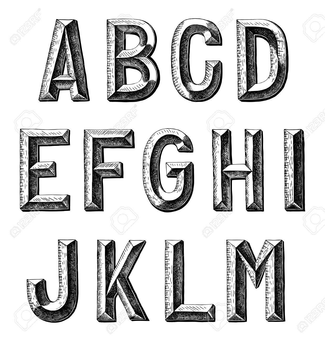 hand draw sketch alphabet design stock vector 21772135