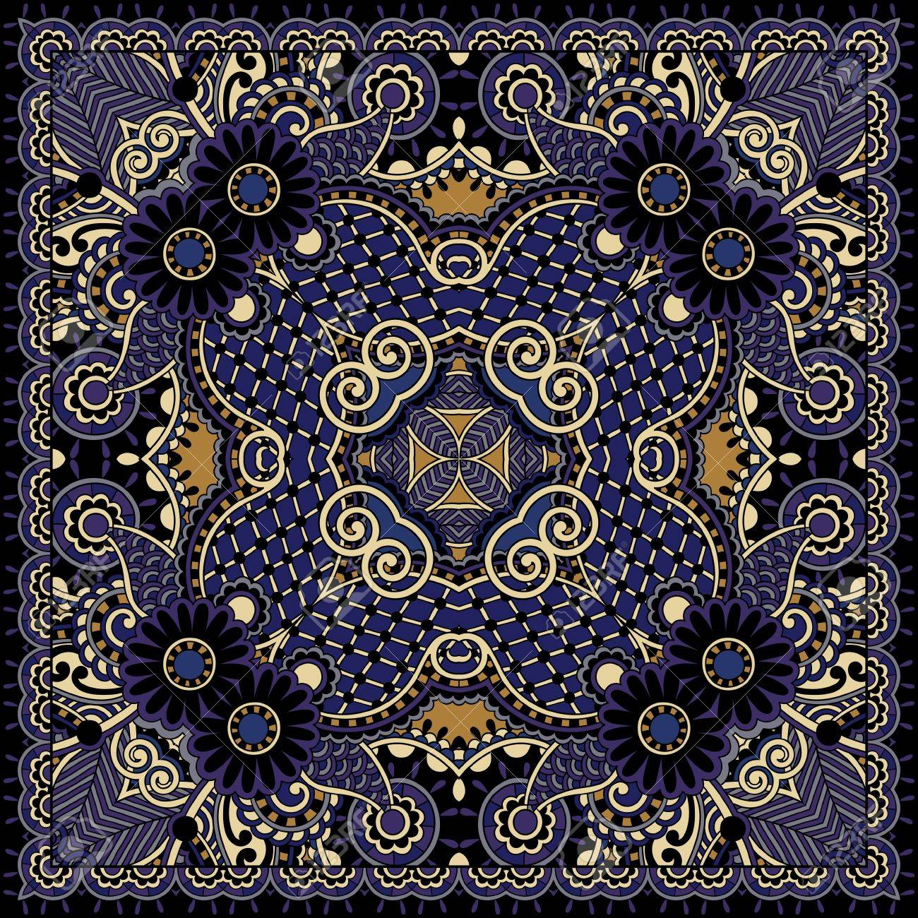 Traditional ornamental floral paisley bandanna. You can use this pattern in the design of carpet, shawl, pillow, cushion Stock Vector - 21877502