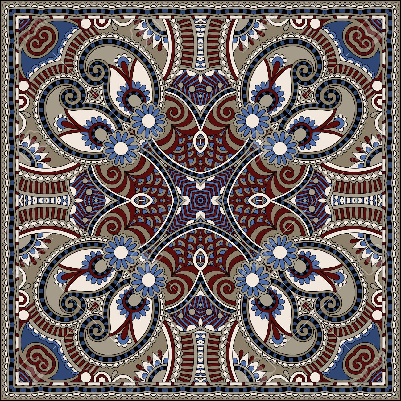 Traditional ornamental floral paisley bandanna. You can use this pattern in the design of carpet, shawl, pillow, cushion Stock Vector - 22567211