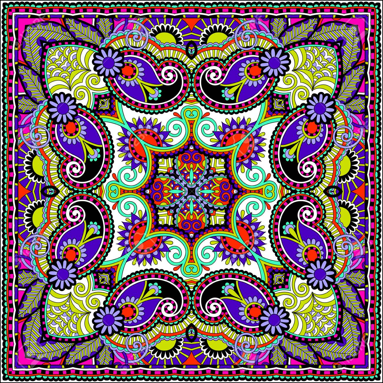 Traditional ornamental floral paisley bandanna. You can use this pattern in the design of carpet, shawl, pillow, cushion Stock Vector - 22567213