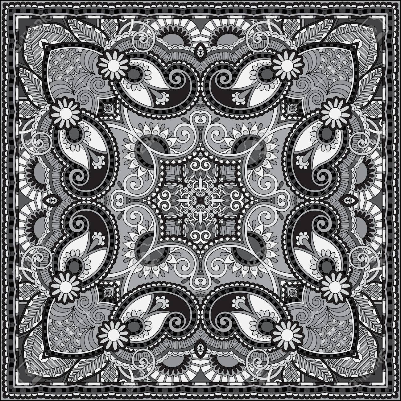 grey ornamental floral paisley bandanna. You can use this pattern in the design of carpet, shawl, pillow, cushion, black and white collection Stock Vector - 22567222