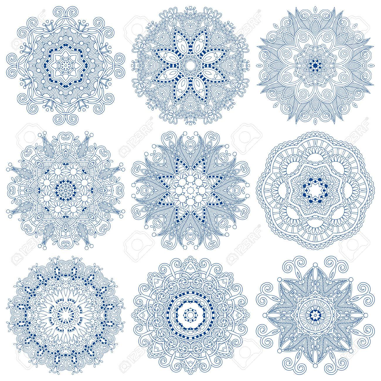 Circle lace ornament, round ornamental geometric doily pattern Stock Vector - 23069642