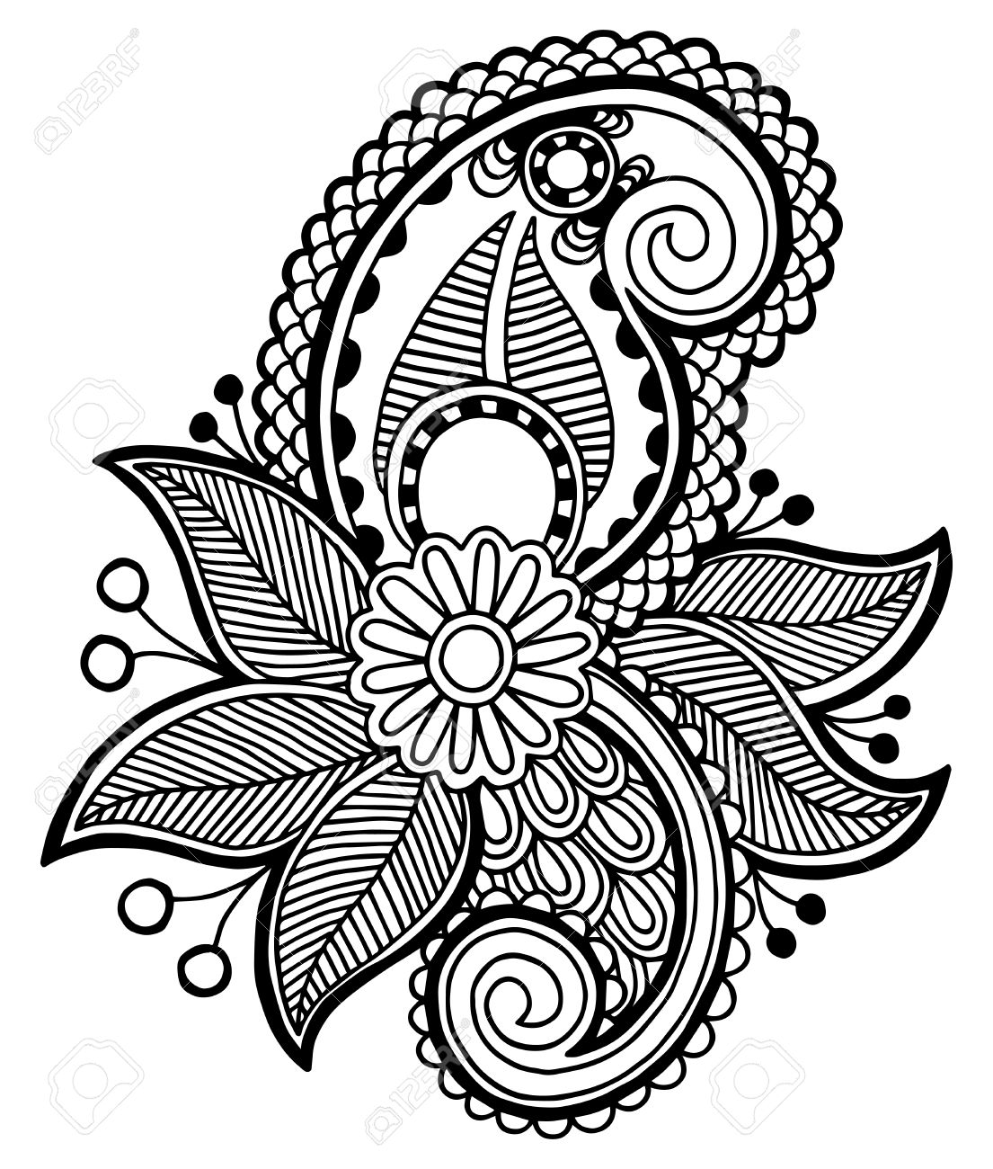 black line art ornate flower design ukrainian ethnic style rh 123rf com black and white vector art of famous people black and white vector art heart