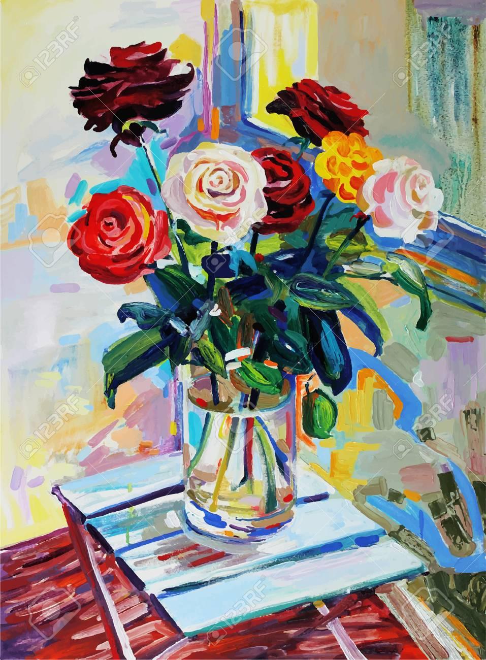 Unusual Original Art Composition Of Roses Bouquet Flower Autotrace