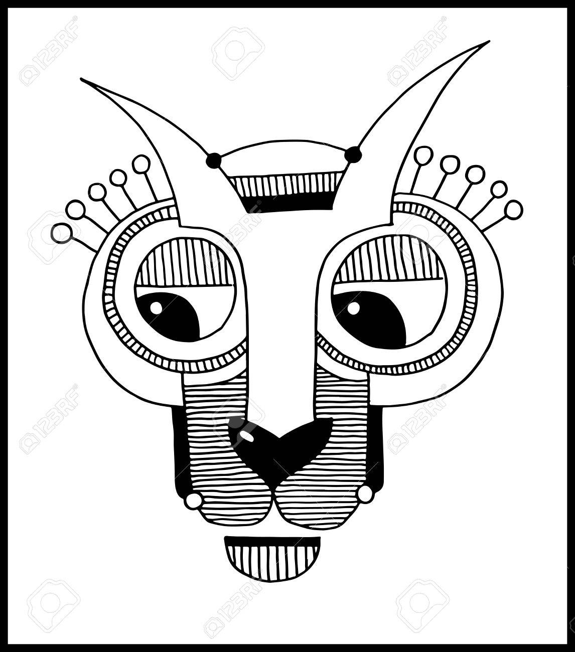 Vector Unusual Hand Draw Illustration With A Head Of Hare Or Rabbit Face  Portrait In Flat