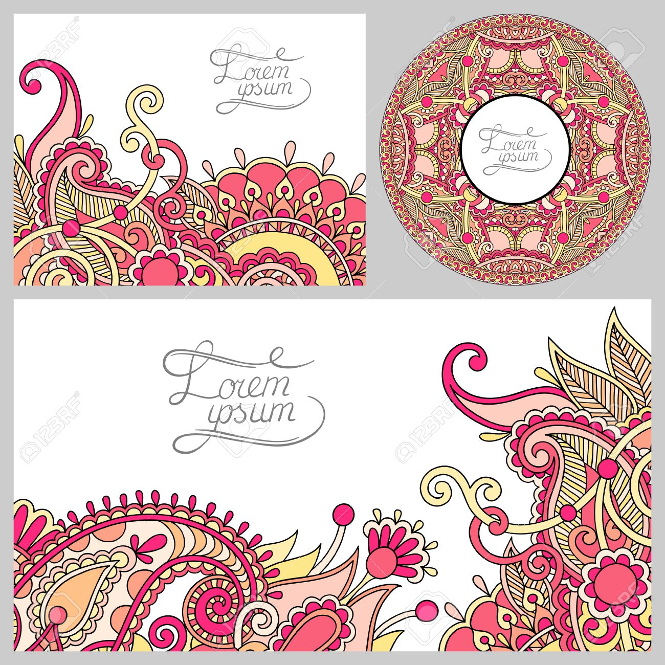 Set of floral decorative background template frame design for set of floral decorative background template frame design for card brochure book stopboris Image collections